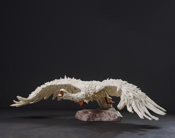 A Swan beats a path to soaring heights. Long dead driftwood on a stainless steel armature